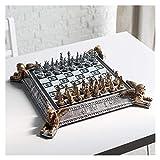 WANGZHI Juego de ajedrez egipcio, marco de metal, panel de cristal, juego de ajedrez