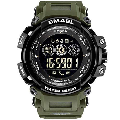 JTTM Reloj Digital para Hombre 50M Impermeable Deportivo Relojes De Pulsera Prueba para Hombre, Reloj Militar Negro LED con Alarma Luminoso Alarma Cronógrafo Bluetooth,Army Green