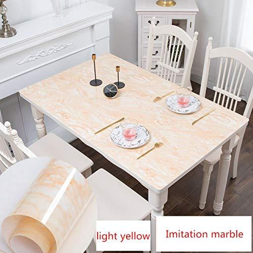 Viner tafelkleed imitatie marmeren tafelmat Placemat waterdicht oliebestendig voor eettafel aanpassen salontafelkleed bureauhoes, lichtgeel, 90x160cm