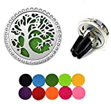 Horsky Car Air Freshener Clip Essential Oil Diffuser World Tree Stainless Steel Natural Air Freshener for Air Vent Aromatherapy with 10 Felt Pads (World Tree)
