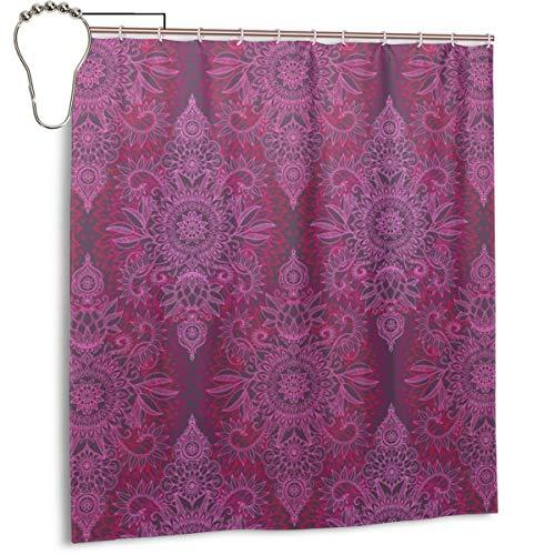 Duschvorhang für Badezimmer, Deep Pink & Mauve Protea Doodle Tuch, Duschvorhang-Set mit Haken, dekoratives Badezimmer-Zubehör, 167,6 x 182,9 cm