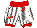 Kleine Könige Kurze Pumphose Baby Mädchen Shorts · Modell Kirsche Cherry gestreift, rot · Ökotex 100 Zertifiziert · Größe 98/104