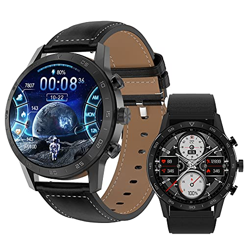 Smartwatch, Pantalla 1.39' Reloj inteligente, Reloj Deportivo para Hombre, Pulsera Actividad con Llamada Bluetooth, Monitor de Sueño Pulsómetro Podómetro, Notificación, Impermeable IP68 ,Black leather