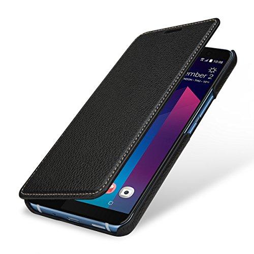 StilGut Book Type Case, Funda de Piel para su HTC U11+. Flip Case de Cuero, Cover para su Original HTC U11 Plus, Negro