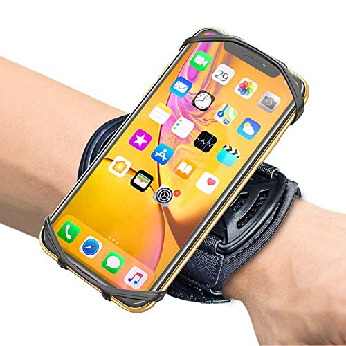 "Comsoon Sports Wristband, 360° Rotatable Forearm Armband Phone Holder Compatible with iPhone 11 Pro Max/Xs/XR/8/7/SE, Galaxy S20/Note9/S9 Plus & More 4-6.5"" Phone,with Key Holder for Biking Running"