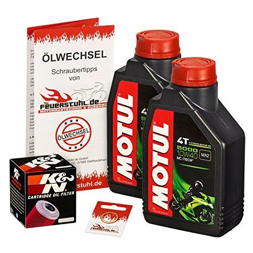 Motul 10W-40 Öl + K&N Ölfilter für Kawasaki EL 252 Eliminator, EL250B EL250F - Ölwechselset inkl. Motoröl, Filter, Dichtring