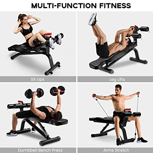 Yoleo Sit Up Bench, Adjustable Weight Bench, Full Body Workout Fitness Exercise Bench, Foldable Flat/Incline/Decline AB Bench for Home Gym