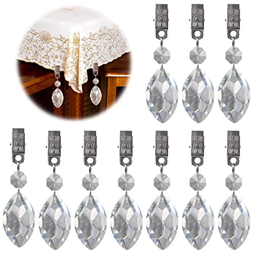 Keadic 10Pcs Professional Tablecloth Weights, Eye Crystal Teardrop Prisms Pendant Perfect for Decorative Purposes