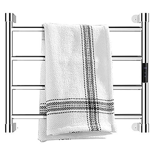 JIEZ Toalleros eléctricos para baño, Calentador de Toallas con calefacción montado en la Pared de 4 Barras, riel de Toalla con calefacción enchufable de Acero Inoxidable 304 con tempori