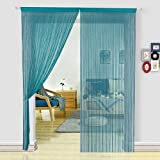 HSYLYM Spaghetti String Curtains Fly Screens Curtains for Doors, Doorways, Windows Treatments and Home Décor (90x200cm,Teal Blue)