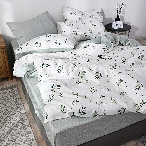 FenDie Funda de edredón con diseño de ramas, de algodón y hojas verdes, reversible, diseño de lunares, color verde