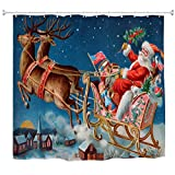 A.Monamour Santa Claus Reindeer Pulling Sleigh Above Village Snowy Christmas Eve Print Water Resistant Mold Resistant Fabric Polyester Shower Curtain Set With Hooks For Bathroom 165X180 Cm / 65