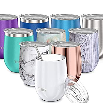Vacuum Insulated Stemless Wine Tumbler - THILY T1 Stainless Steel Travel Wine Glass Cup for Wine Coffee Cocktails with Lid Reusable Straw 12 oz Cute Birthday Christmas Gift Pearl White