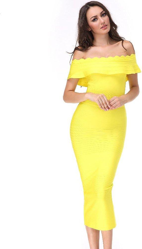UONBOX Women's Fluted Mid-Calf Off Shoulder Party Bandage Dress with Back Split