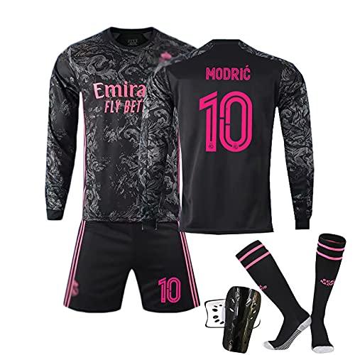CBVB 2021 Jersey de fútbol 7# Peligro 10# Modric 22# Uniforme de fútbol de ISCO, Camiseta de fútbol de Manga Larga + Pantalones Cortos, Adecuado para Adultos y niños Black#10-20