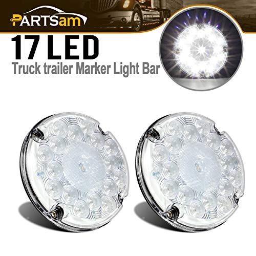 Partsam 2Pcs 7' Round White LED Backup Lights 17 LED Marker Running Lights Surface Mount for Transit Vehicles Bus Truck Trailers