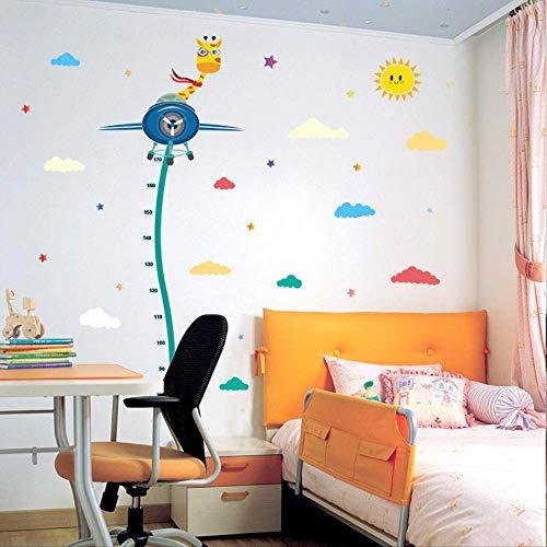 Muurstickergiraffe vliegtuig hoogte sticker, kinderkamer kleuterschool decoratieve muursticker, waterdicht afneembare muurstickers