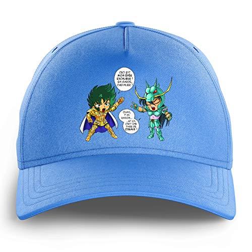 OKIWOKI Cap voor kinderen, hemelsblauw, Saint Seiya, parodisch, Shura, Golden ridder, Steenbok en Shiryu van de draak: J't'AI gebroken da (Parodie Saint Seiya)