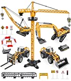 Construction Truck Toys Set, Geyiie Alloy Construction Site Vehicles with Crane, Sandbox Truck Digger Excavator Forklift Tractor Bulldozer Loader Outdoor Toys for Age 3 4 5 6 Boys Toddler Kids
