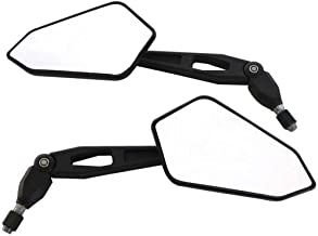 Alftek 1 Pair Motorcycle Folding Rearview Mirrors Round Universal Rear Mirror for Kawasaki KX250 KL250