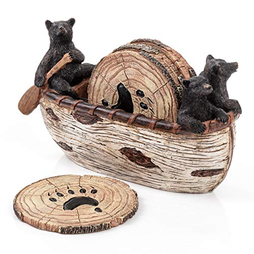 Bear Coasters Set – 6 Full Size Rustic Coasters in Handmade Canoe with Adorable Black Bear Figurines | Log Cabin Decor, Black Bear Decor, Cabin Decorations Rustic Lodge Decor for The Home