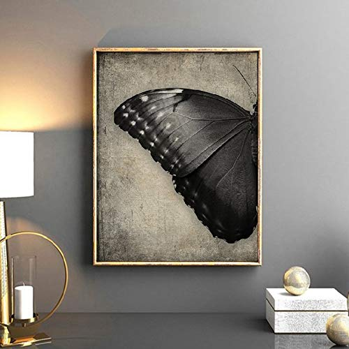 zgwxp77 Kunstdruck auf Leinwand, Motiv: schwarzer Schmetterling, abstrakter Hintergrund, a, 45x60cm No Frame