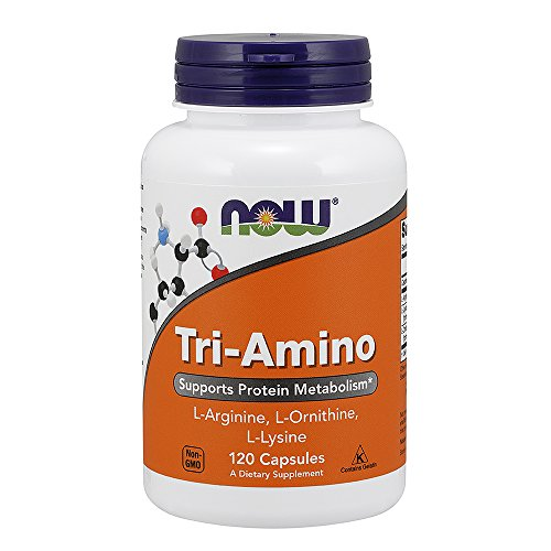NOW Supplements, Tri-Amino with L-Arginine, L-Ornithine, L-Lysine, Supports Protein Metabolism*, 120 Capsules