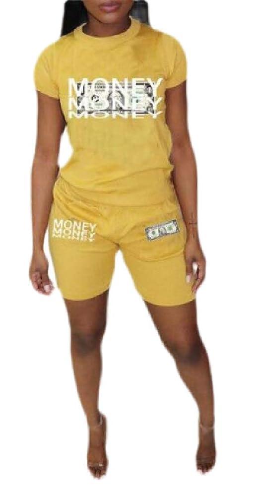 取得封筒リア王Women Print Short Sleeve Tops+ Skinny Pants Tracksuit Set