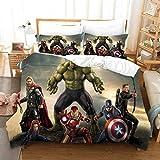 Bate - Juego de funda nórdica de 100% microfibra de Marvel Avengers para niños, adolescentes y adultos, 220 x 240 cm