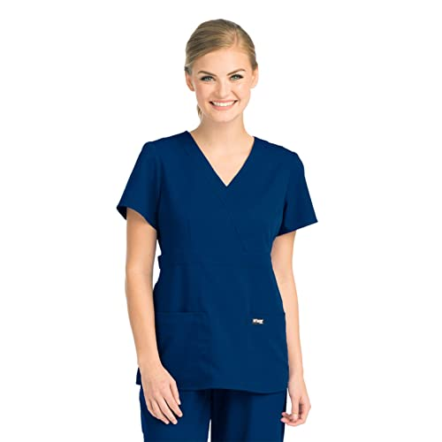 Women/'s UltraSoft Junior Fit V-Neck Mock Wrap Scrub TOP ONLY Nursing Uniform