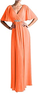 TalinaDress Long Chiffon Cap Sleeves Mother of The Bride Dresses Formal Gowns E265LF