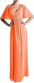 CladiyaDress Women V Neck Rhinestones Long Evening Dress Prom Gown D265LF