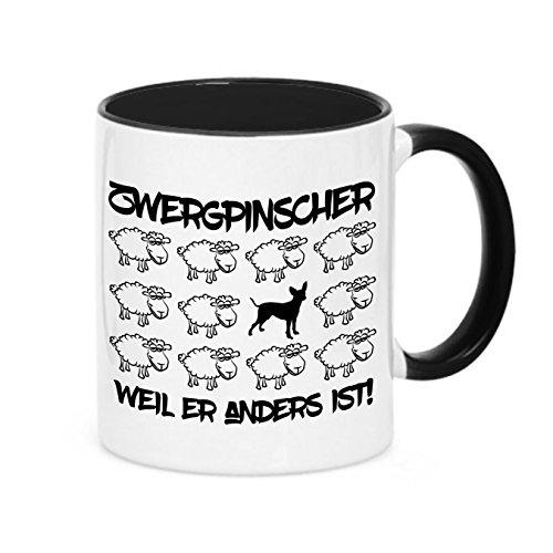 Siviwonder Tasse Black Sheep - Zwergpinscher Pinscher - Hunde Fun Schaf Kaffeebecher