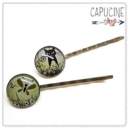 2 pinces bronze cabochons verre chat noir - pinces cheveux cabochon - Barrettes cheveux illustrées - Ballade Champêtre