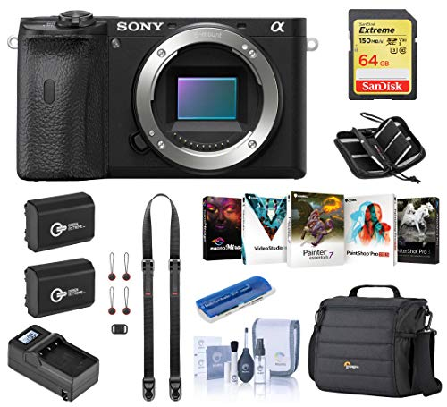 Sony Alpha a6600 Mirrorless Digital Camera Body (ILCE6600/B) Essential Bundle with Bag, 2 Extra Batteries, Charger, 64GB SD Card, and Accessories