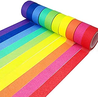Piokio Rainbow Washi Tape 15mm Wide Set of 10 Rolls, Solid Colored Tape for DIY School Supplies