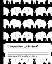 Elephant Composition Notebook: Wide-Ruled, 7.5 x 9.25, 100 Pages, For kids, teens, and adults, Animals ,Elephant