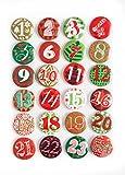 1a Qualität! 24 Adventskalender Buttons in ROT GRÜN Adventskalender-Zahlen zum selber basteln 1 bis 24 Sticker aus Alu METALL Blech - mit einer Nadel hinten DIY Nummern