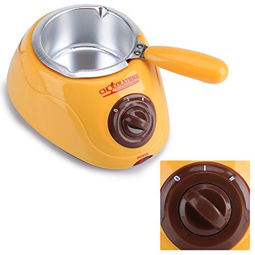 Aufee Schokolade Schmelztiegel, Elektrische Schokolade Backformen Süßigkeiten Schmelzgerät DIY Fondue Brunnen Topf Küche Werkzeug mit DIY Form Set (黄色)