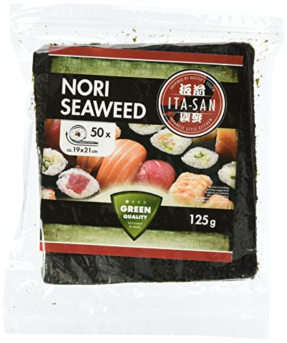 ITA-SAN Seetang, geröstet, für Sushi, ganzes 50 Blatt, nori grün, 2er Pack (2 x 125 g)