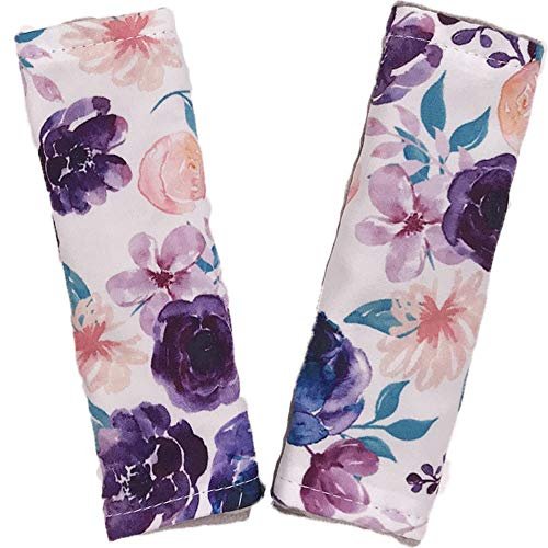 Baby Car Seat Neck Cover, Car Seat Strap Cover, Seat Belt Cushions Pads, Shoulder Strap Protectors, Reversible Pram Harness Covers in Minky Floral, Baby Neck Pad Protector