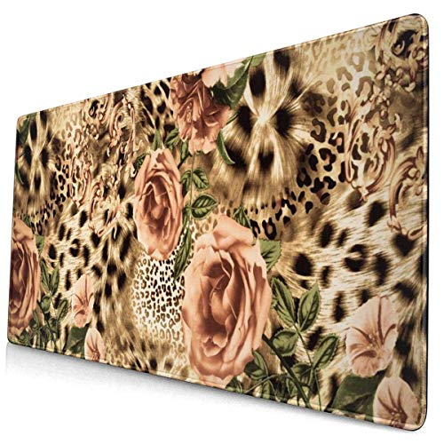 Large Mouse Pad Animal Leopard Print and Rose Flowers XL Extended Gaming Mouse Pad Portable Large Desk Keyboard Pad Waterproof Writing Pad for Mouse Office, Home, Non-Slip Rubber Base