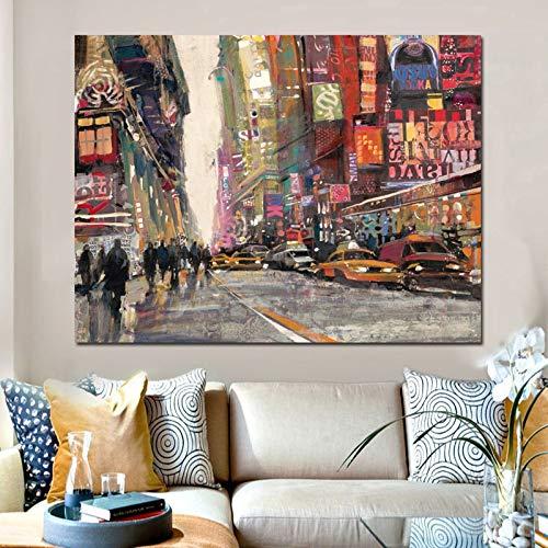 wZUN Carteles artísticos en Lienzo de Calles de la Ciudad Europea Moderna Pintura sobre Lienzo Pintura de Paisaje Abstracto Cuadro de Pared Sala de Estar 50x70cm