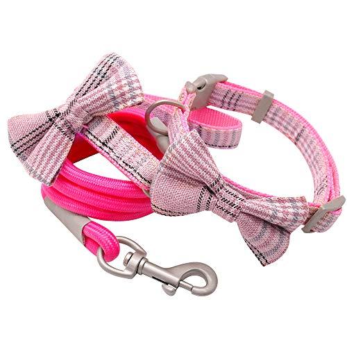 MCPPP Collar de Perro, y Correa Set Lindos Collares de Perros de Bowtie con Correa de pie para Mascotas para pequeños Perros Medios Accesorios de Boda,Rosado,24~32cm