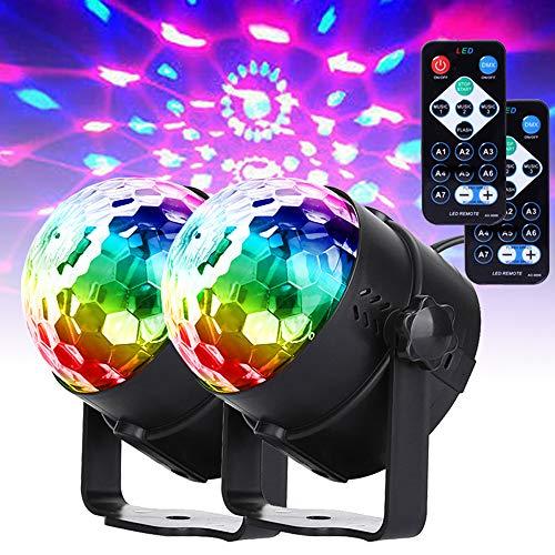 U`king Musikgesteuert Discokugel Blitzlichter, RGB Disco Lichteffekte, 7 Farben Party Lampe mit Fernbedienung für Family Dances Bars Karaoke Wedding Performance Club Weihnachten(2pcs)