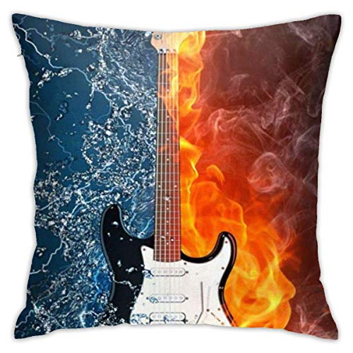 Electric Guitar in Fire and Water Soft Square Throw Pillow Covers Cushion Case 45X45CM