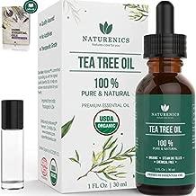 Naturenics Tea Tree Essential Oil-100% USDA Organic Melaleuca Alternifolia Therapeutic Grade- Natures Solution For Acne, Restore Toenail, Lice, Hair, Face, Skin Problems-Roll On & eBook-1 Fl Oz
