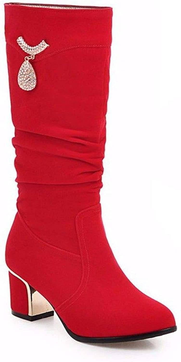 Autumn red Heart-Shaped Diamond Wedding Decoration Boots high Boots Suede with Large Boots