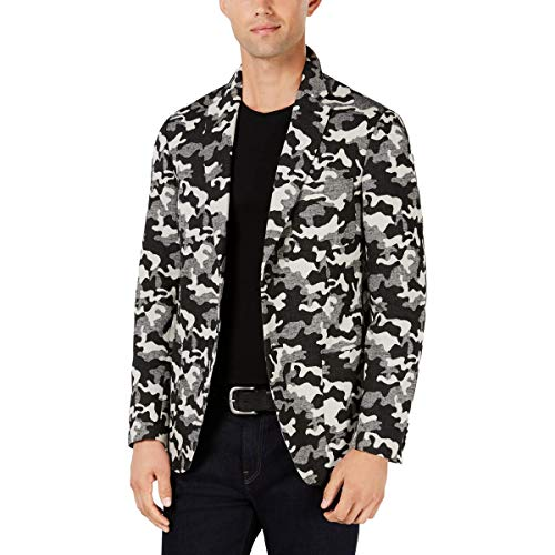 Michael Kors Mens Camo Two Button Blazer Jacket, Black, 40 Regular