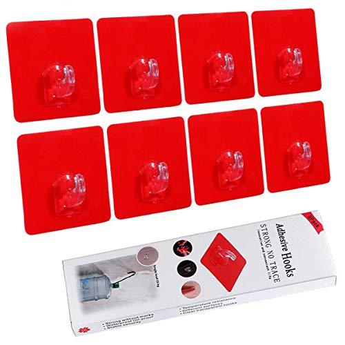 Laimew Ganchos adhesivos para Estante sin perforación 15 kg máx Ganchos de pared transparentes fuertes para baño dormitorio y cocina, 8 piezas